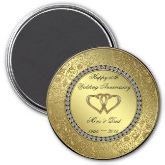 Klassischer goldener Hochzeitstag-Magnet Runder Magnet 7,6 Cm