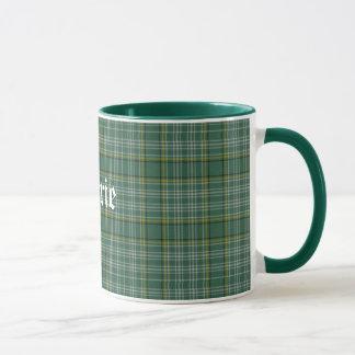 Klassischer grüner Clan Currie Tartan-karierte Tasse