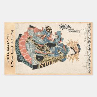 Klassischer japanischer Vintager ukiyo-e Geisha Rechteckiger Aufkleber