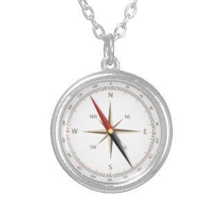 Klassischer Kompassblick Halskette Mit Rundem Anhänger