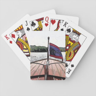 Klassischer Mahagonibootsdruck auf Spielkarten