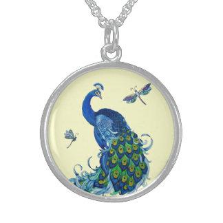 Klassischer Pfau-und Libellen-Entwurf Sterling Silberkette
