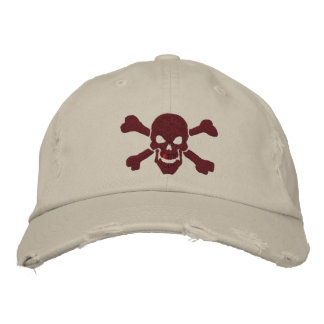 Klassischer Piraten-Knochen-Schädel in Bestickte Baseballkappe