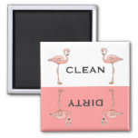 Klassischer rosa Flamingo-saubere schmutzige Magnets