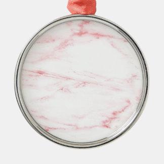 Klassischer rosa Marmor Rundes Silberfarbenes Ornament