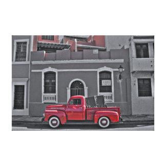 Klassischer roter LKW Leinwanddruck