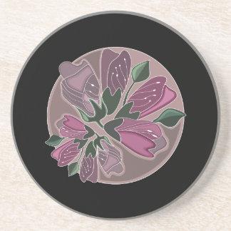 Klassischer stilvoller schwarzer und rosa getränkeuntersetzer