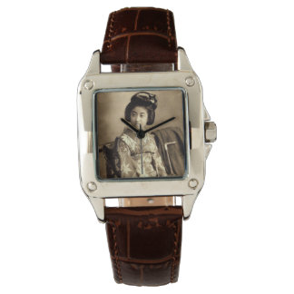 Klassischer Vintager japanischer Sepia tonte Armbanduhr