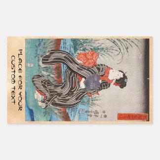 Klassischer Vintager japanischer ukiyo-e Geisha Rechteckiger Aufkleber