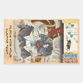 Klassischer Vintager japanischer ukiyo-e Samurai Rechteckiger Aufkleber
