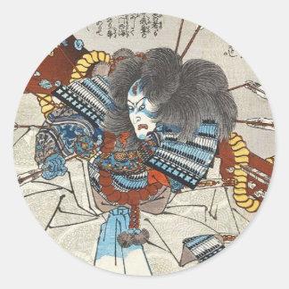 Klassischer Vintager japanischer ukiyo-e Samurai Runder Aufkleber