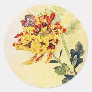 Klassischer Vintager ukiyo-e Chrysanthemeschmetter Runde Sticker