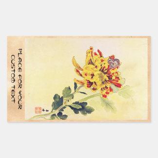 Klassischer Vintager ukiyo-e Chrysanthemeschmetter Sticker