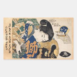 Klassischer Vintager ukiyo-e Geisha mit Fan Rechteckiger Aufkleber