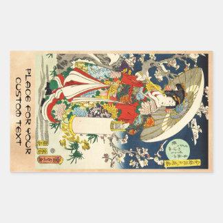 Klassischer Vintager ukiyo-e Geisha mit Rechteckiger Aufkleber