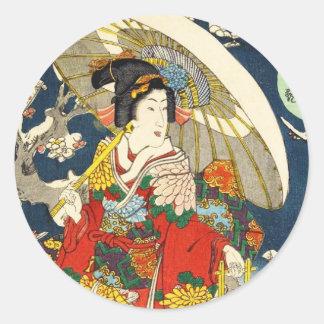 Klassischer Vintager ukiyo-e Geisha mit Runder Aufkleber