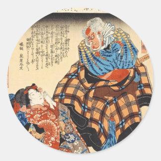 Klassischer Vintager ukiyo-e Geisha und Runder Aufkleber