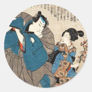 Klassischer Vintager ukiyo-e Geisha und Samurai Runder Aufkleber