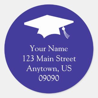 Klassisches Abschluss-Adressen-Etikett Runder Aufkleber