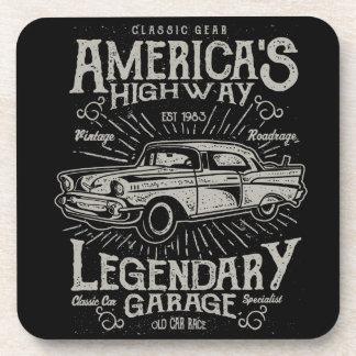 Klassisches amerikanisches Landstraße des Getränkeuntersetzer
