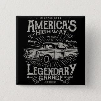 Klassisches amerikanisches Landstraße des Quadratischer Button 5,1 Cm