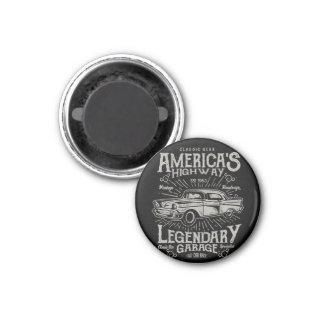 Klassisches amerikanisches Landstraße des Runder Magnet 2,5 Cm