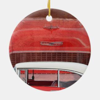 Klassisches Autos Chevy Bel Air Dodge-rotes weißes Keramik Ornament