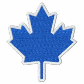Klassisches blaues Ahornblatt auf Weiß Besticktes Kapuzenpulli