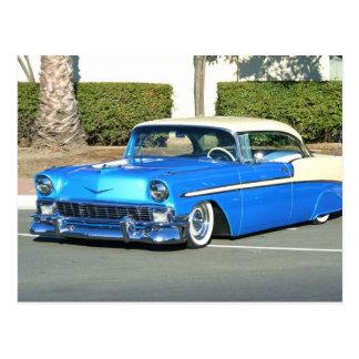 Klassisches blaues Auto Postkarte
