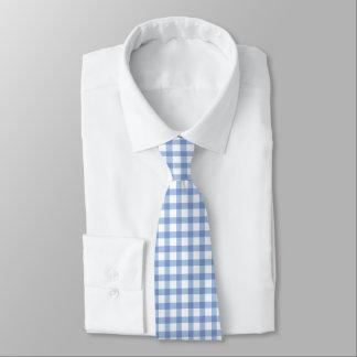 Klassisches blaues Gingham-Karo-Pastellmuster Krawatte
