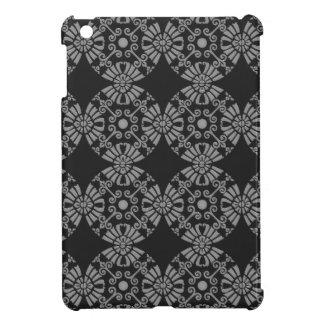 Klassisches Blumenmotiv-Muster-Schwarzes und Grau iPad Mini Hülle