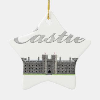 Klassisches britisches Schloss mit Schloss-Text Keramik Ornament