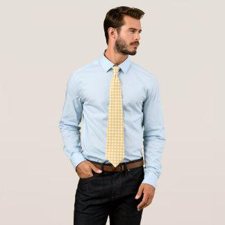 Klassisches gelbes Gingham-Karo-Pastellmuster Krawatte