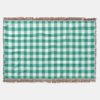 Klassisches grünes und weißes Gingham-Karo-Muster Decke
