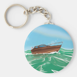 Klassisches hölzernes Schnellboot Schlüsselanhänger