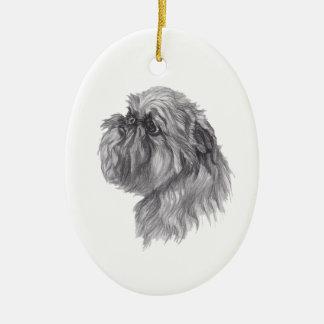 Klassisches Hundeprofil Brüssels Griffon Zeichnen Keramik Ornament
