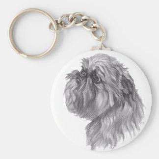 Klassisches Hundeprofil Brüssels Griffon Zeichnen Schlüsselanhänger