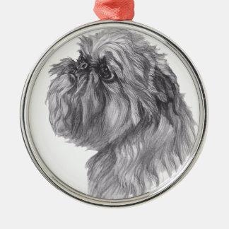 Klassisches Hundeprofil Brüssels Griffon Zeichnen Silbernes Ornament