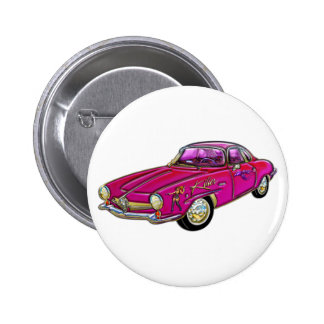 Klassisches kleines rosa Sport-Auto Runder Button 5,7 Cm