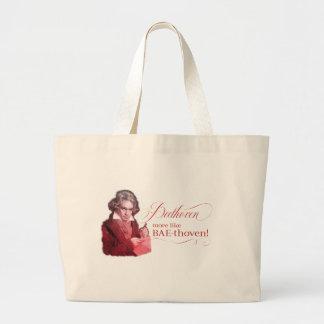 Klassisches Komponist-Wortspiel Beethovens Jumbo Stoffbeutel