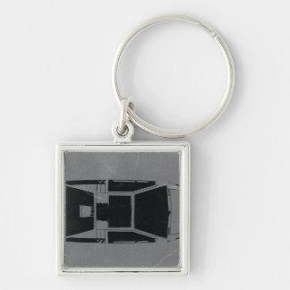Klassisches Konzept-Auto Silberfarbener Quadratischer Schlüsselanhänger