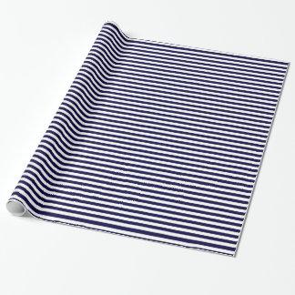 Klassisches Marine-Blau-und Weiß-Streifen-Muster Geschenkpapier