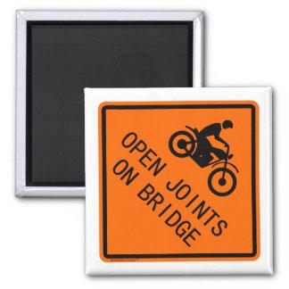 Klassisches Motorrad-Zeichen - offene Gelenke auf Quadratischer Magnet