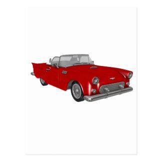 Klassisches rotes Fünfzigerjahre Auto Postkarte