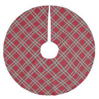 Klassisches rotes Tartan-Weihnachtskarierter Polyester Weihnachtsbaumdecke