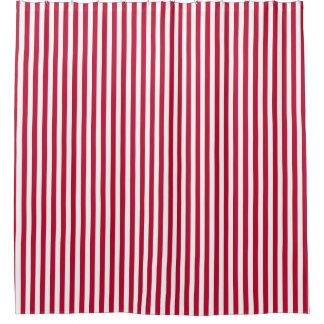 Klassisches rotes weißes Streifen-Muster Duschvorhang