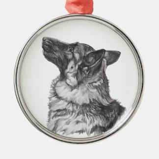 Klassisches Schäferhundprofil Porträt-Zeichnen Silbernes Ornament