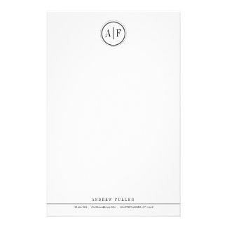Klassisches schwarzes mit Monogramm Briefpapier