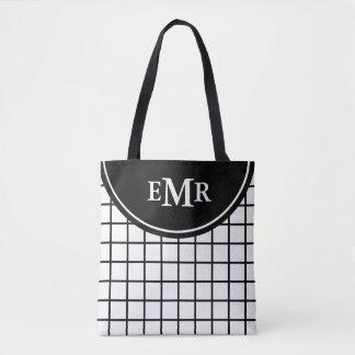 Klassisches Schwarzweiss-Gitter-Streifen-Monogramm Tasche