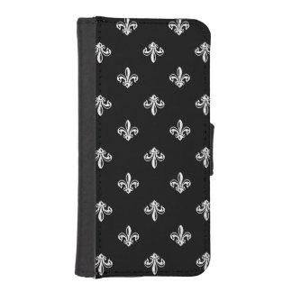 Klassisches Schwarzweiss-Lilien-Muster iPhone 5 Geldbeutel
